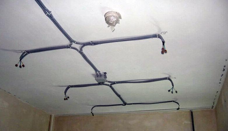 Прокладка кабеля по потолку в гофре